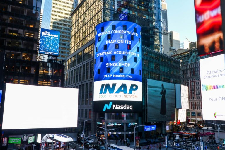 screen in new york city announcing INAP acquisition of SingleHop
